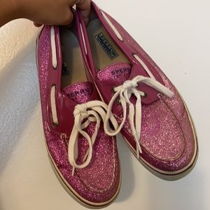 sperry pink sparkly boat shoes